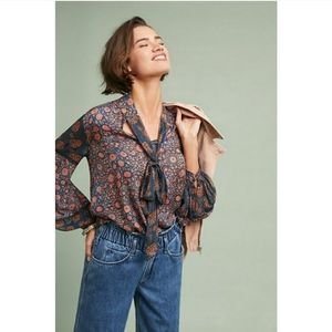 Anthropologie Bl^nk London Velia Tie-Neck Blouse
